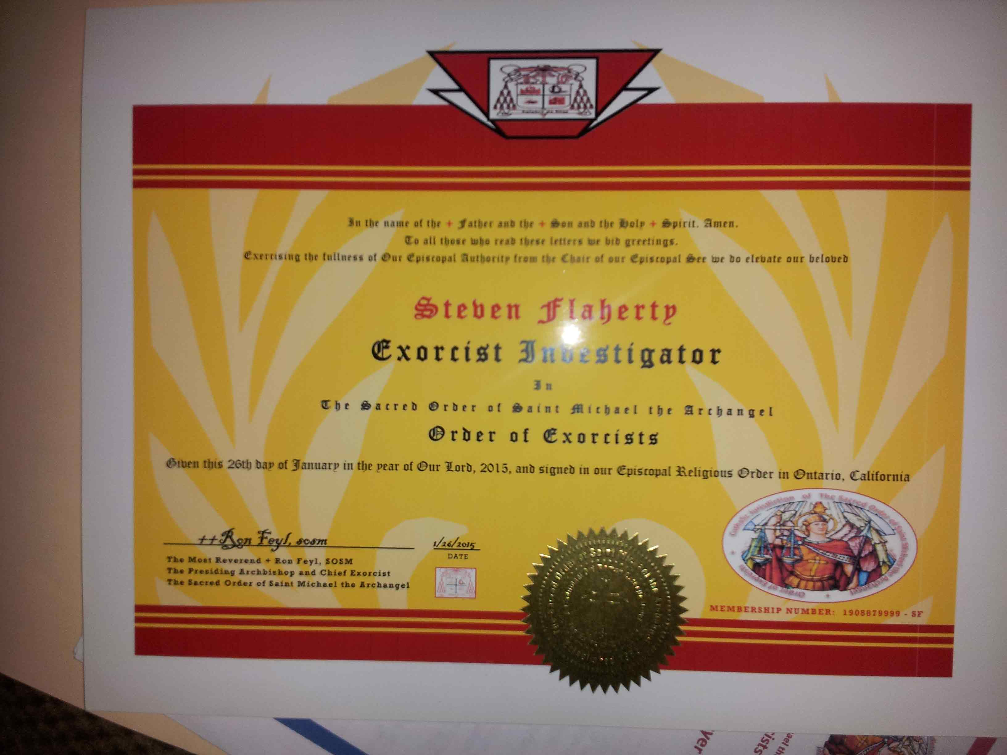 Massachusetts Order of Exorcists Certificate